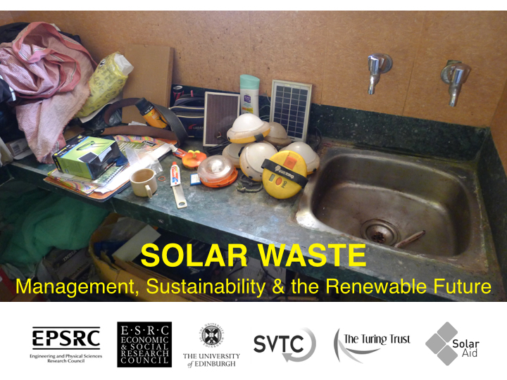 Solar waste conference in Edinburgh