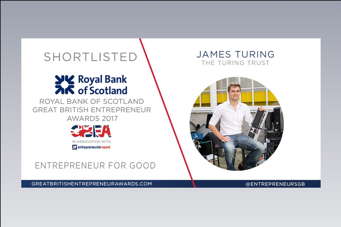 Shortlisted for the 2017 Royal Bank of Scotland Great British Entrepreneur Awards