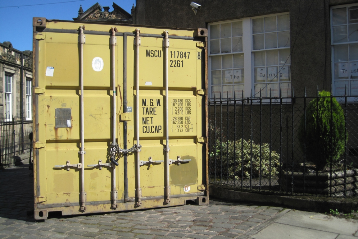 Shipping container ready to leave Edinburgh