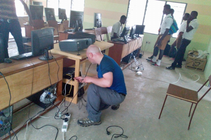 Setting up the network at Afoako ICCES, Ghana