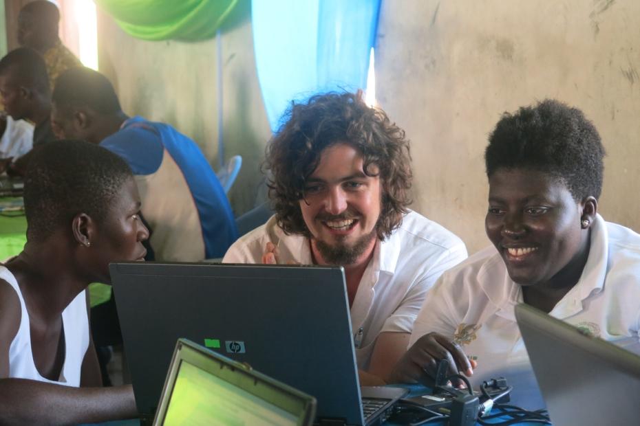 Training students, Ghana