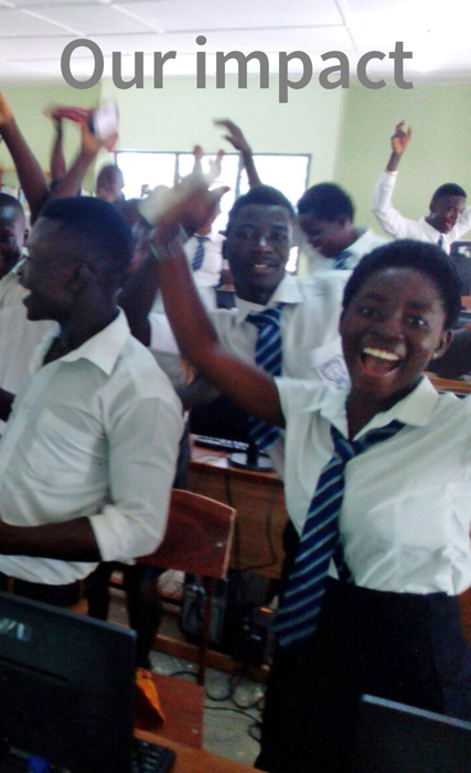 Students celebrating the opening of the computer laboratory at Afoako ICCES
