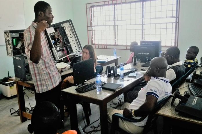 Training on computer maintenance at Kedze, Volta region Ghana