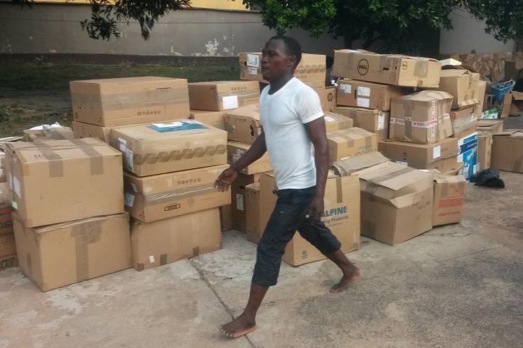 Unloading the container, Kumasi, Ghana