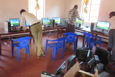 Setting up the computer lab at Rula CDSS, Malawi