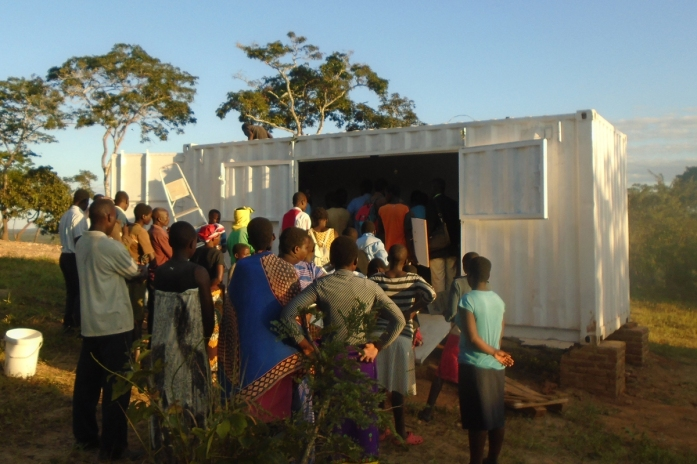 The community in Choma help set up the SolarBerry