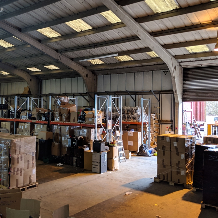 Warehouse stocked ready for loading container