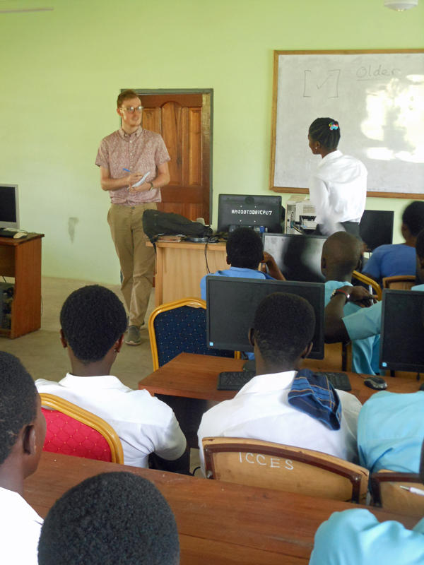 Andrew speaking with students at Afoako ICCES, Ghana