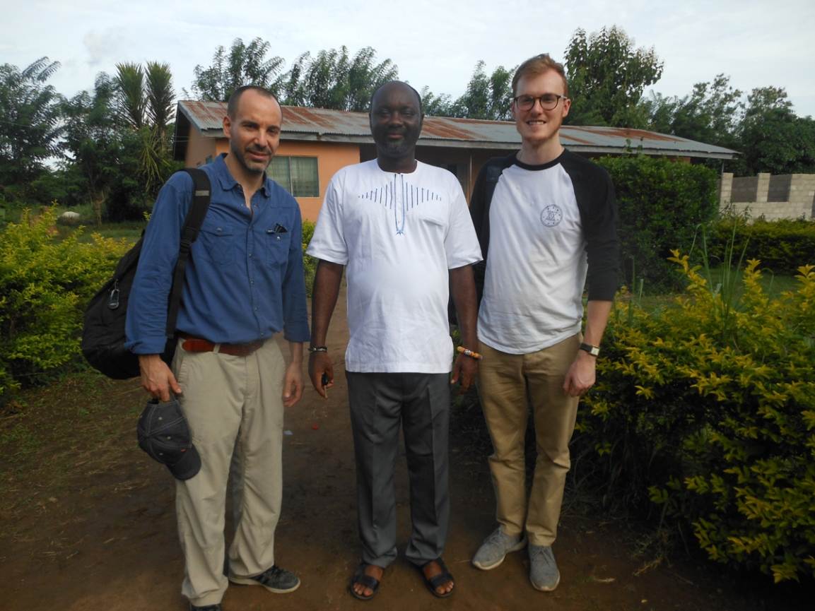 Greg Imberty (left) and Andrew Ellison (right) with the headmaster of Tetrefu ICCES, Ghana