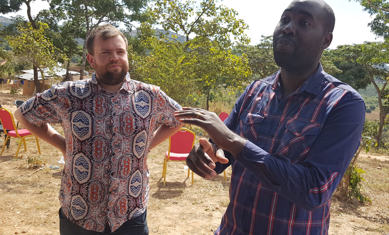 Sam Gray and Yewo Msika at the handover of the SolarBerry to the local community in Choma, Malawi