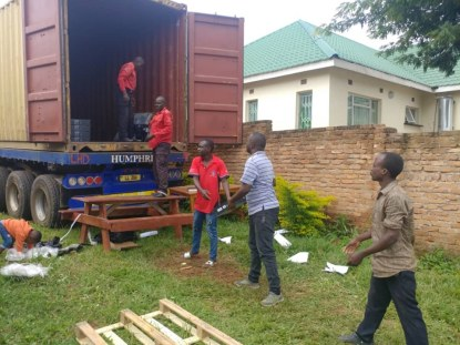 Unloading PCs from the container