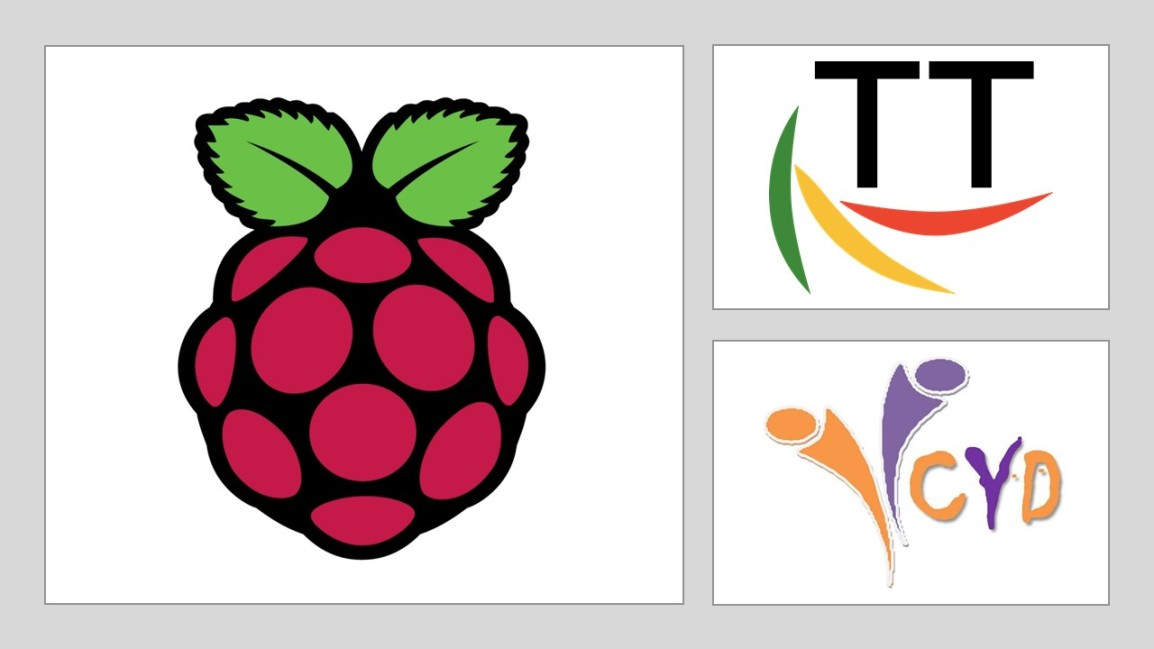 Logos of Raspberry Pi foundation, Thr Turing Trust and Centre for Youth and Development