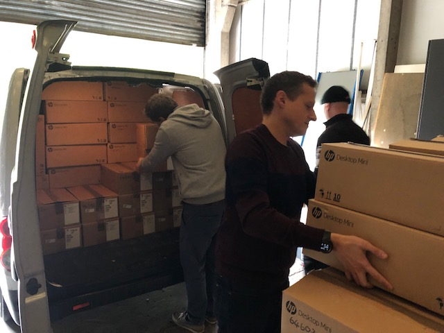 Unloading the donation from the Scottish Government