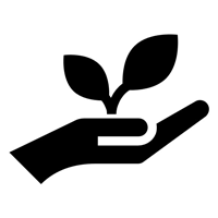 Leaf growing from a hand icon